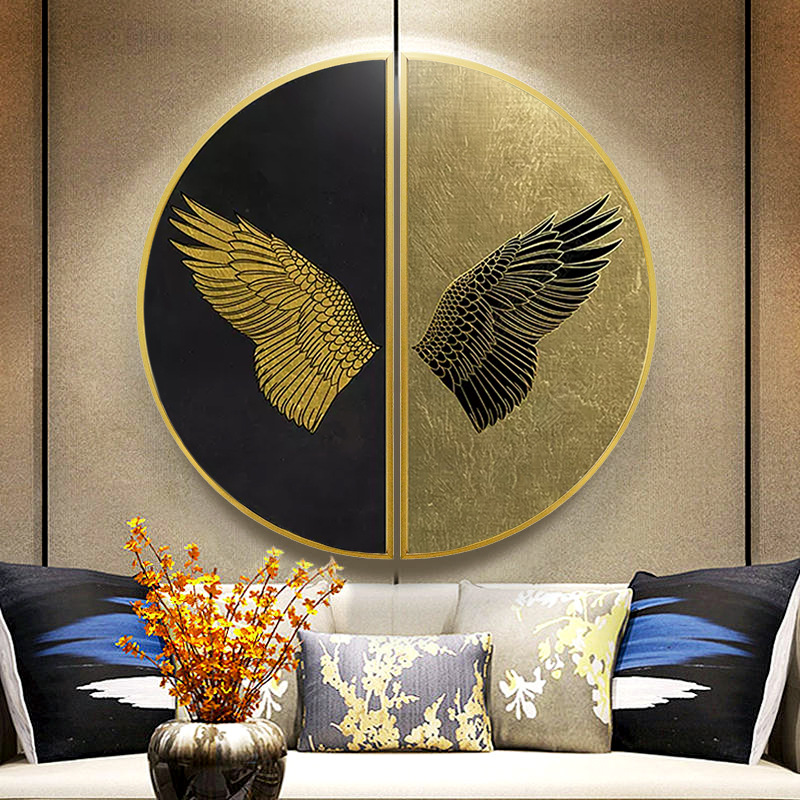 Circular painting Living room decorative Modern abstract porch semicircle luxury sofa background wall