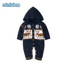 Baby Christmas Clothes Autumn Hooded Long Sleeve Newborn Knitted Rompers Winter Warm Toddler Boys Girls One Piece Jumpsuits Wear red christmas reindeer knitted baby jacket for girls fall long sleeved sweaters cardigans coats newborn boys winter warm clothes