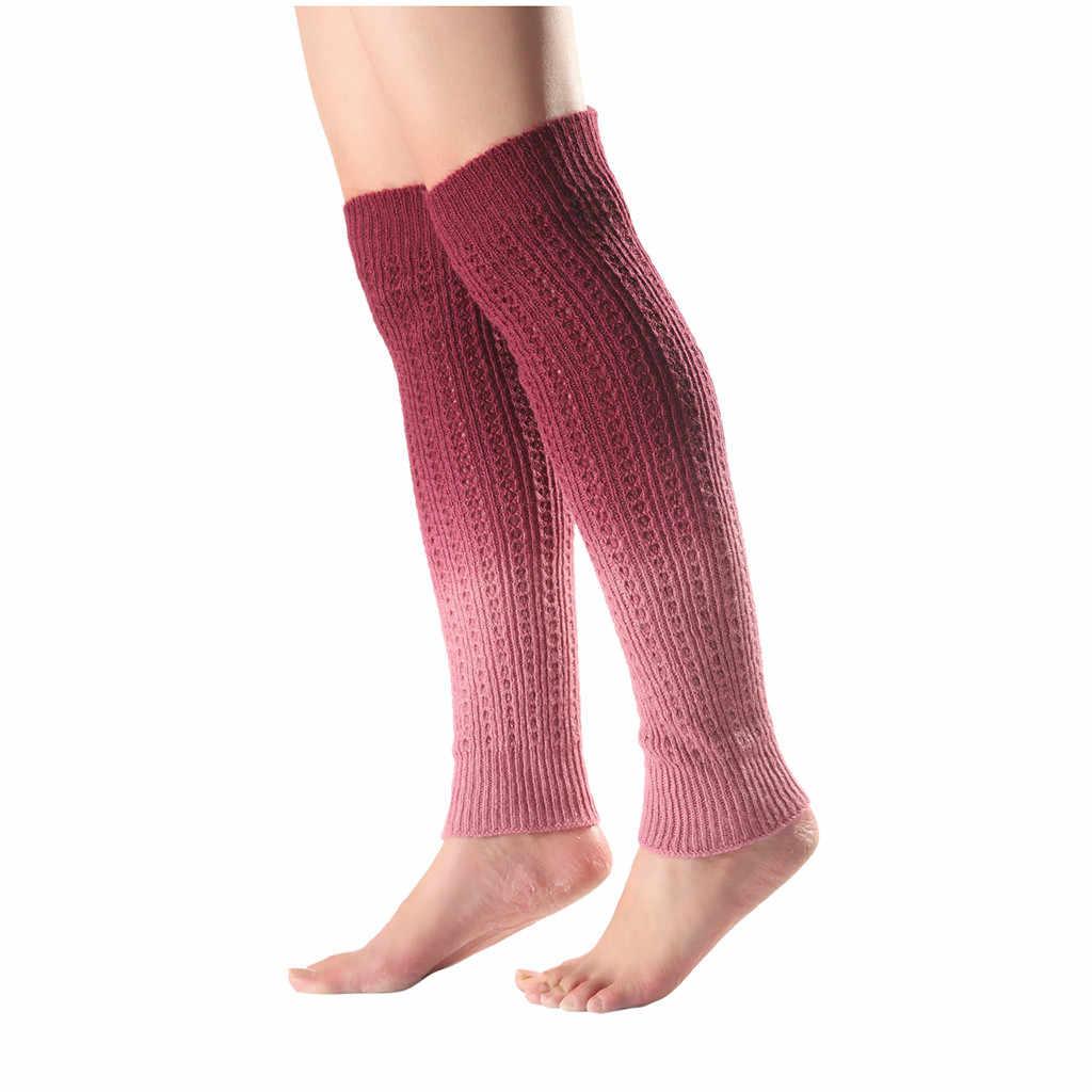 Vrouwen Gemengde Kleur Wollen Lange Over Knieën Been Kromtrekken Gebreide Boot Cover Sokken Knie Bescherming Sokken Winter Warm Katoenen Sokken