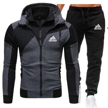 New Winter Men's Clothing Men Sets Printing Hoodie Set Fleece Zipper Sweatshirt Casual Sport Sweatpants Mens Tracksuits 2020