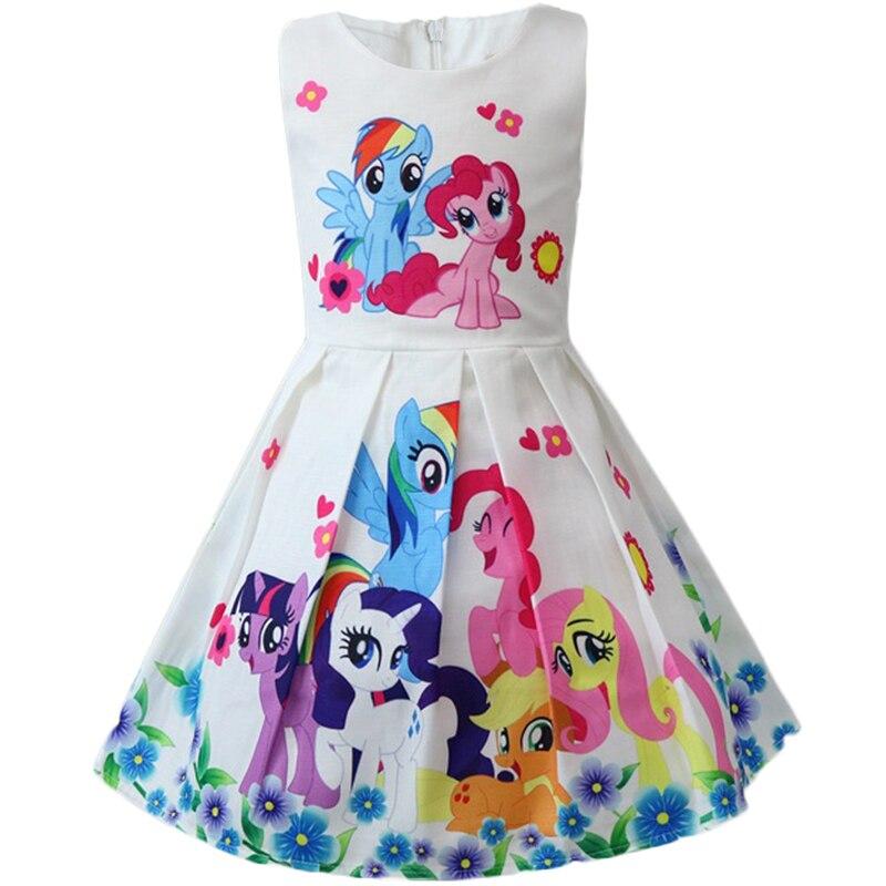Unicorn Toddler Girls Cartoon Dresses Pony Cotton Elegant Princess Dress Baby Kids Party Costume 6 7 8 Year Children Clothing