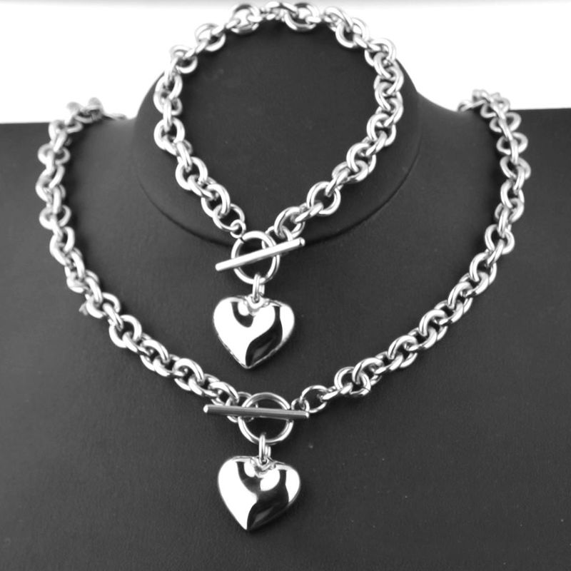 1 Set Women Stainless Steel Chain Heart Toggle Bracelet Necklace Jewelry Set