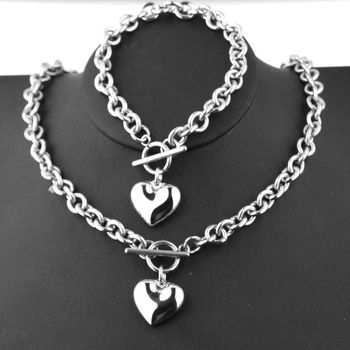 1 Set Women Stainless Steel Chain Heart Toggle Bracelet Necklace Jewelry
