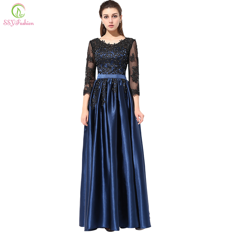 Clearance Long Party Dress Blue With Black Lace Embroidery 3/4 Sleeved Banquet Mother Of The Bride Dresses Robe De Soiree
