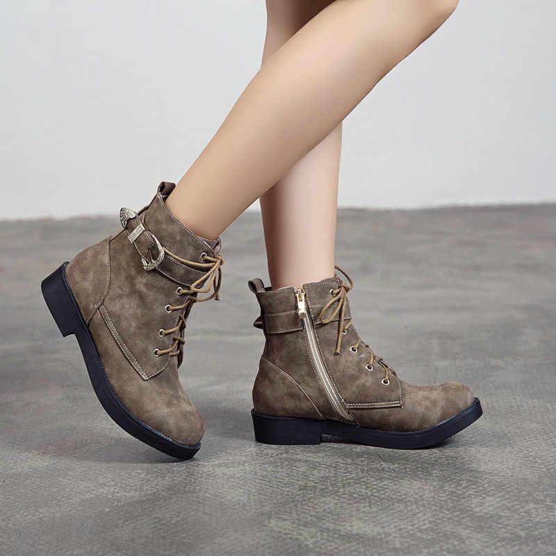 MoonMeek 2020 yeni yarım çizmeler kadın yuvarlak ayak bayanlar sonbahar kış çizmeler med topuklu zip balo bayan botları büyük boy 34 -43