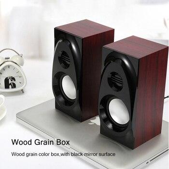 Wooden Desktop Speakers 3.5mm AUX Input USB Power Computer Speakers for Laptop Desktop Phone Audio Loudspeaker 3