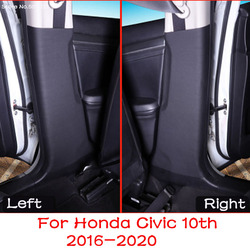 Car Leather B Pillar Anti-kick Protective Mat Seat Belt Pad Cover For Honda Civic 10th 2020 2019 2018 2017 2016 Car Accessories