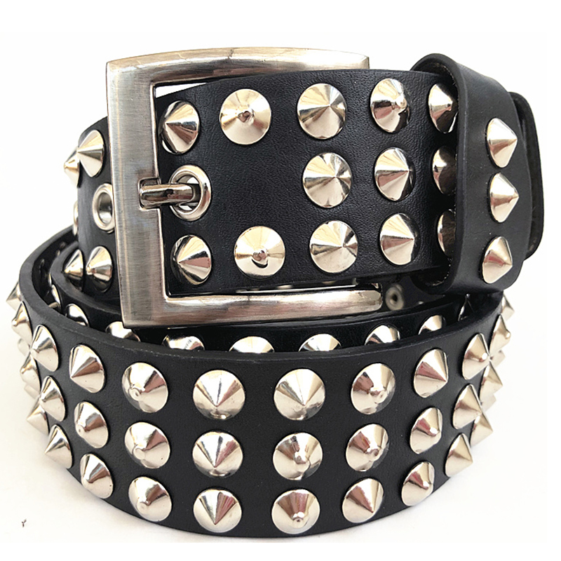 Punk Luxury Designers Rivet Leather Men Rock Belts Man Hip Hop Style Jeans Metal Ceinture Strap Waist Belt With Metal Pin Buckle