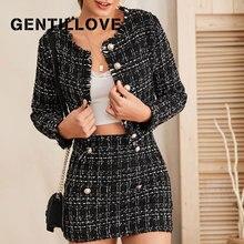Office-Suit Skirt-Set Jacket Blazer Tweed Women Plaid Elegant for Vintage Autumn And