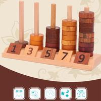 For Montessori Teaching Aids Beaded Jigsaw Puzzle Wooden Toys Children's Digital Beaded Montessori Math Teaching Aids Brain Game