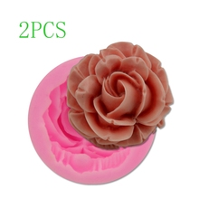 Candle-Mold Mould-Form Flower Rose Gypsum Silicone Fondant Wax DIY 3D 2pcs Handmade Bloom