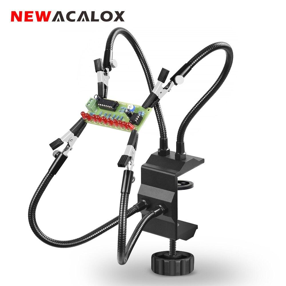 NEWACALOX שולחן מהדק הלחמה תחנת מחזיק PCB אליגטור קליפ רב הלחמה עוזר יד שלישי יד כלי לריתוך תיקון