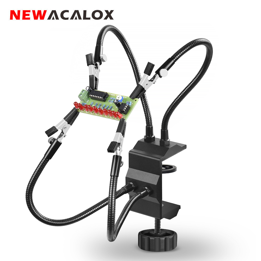 NEWACALOX Desk Clamp Soldering Station Holder PCB Alligator Clip Multi Soldering Helping Hand Third Hand Tool for Welding Repair