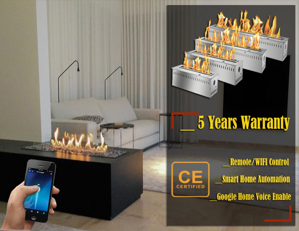 Hot Sale 36 Inches Silver Or Black Real Fire Wifi Intelligent Auto Bioethanol Fireplaces