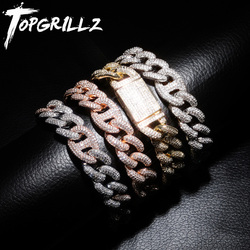TOPGRILLZ 7-9 Inch New Lock Clasp 14mm Heavy Iced Out Cuban Bracelet Chains Cubic Zircon Link Hip Hop Rock Jewelry For Men Women