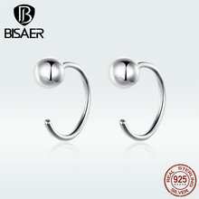 BISAER 100% 925 Sterling Silver Simple Geometric Women Stud Earrings Jewelry GXE782