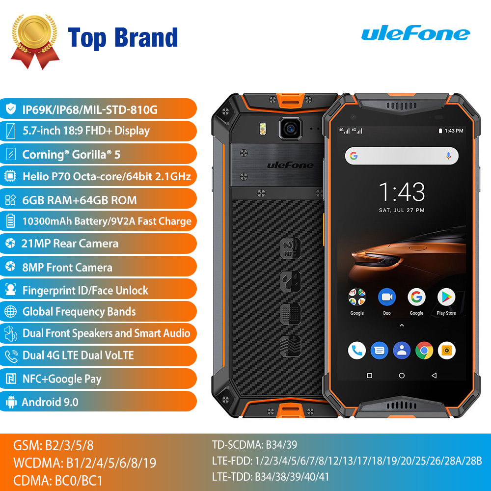 Image 2 - Ulefone Armatura 3W Smartphone Rugged Android 9.0 IP68 5.7 Helio  P70 6G   64G 10300mAh telefono cellulare 4G Dual SIM Del Telefono  Cellulare Android-in Telefoni cellulari e smartphone da Cellulari e  telecomunicazioni su