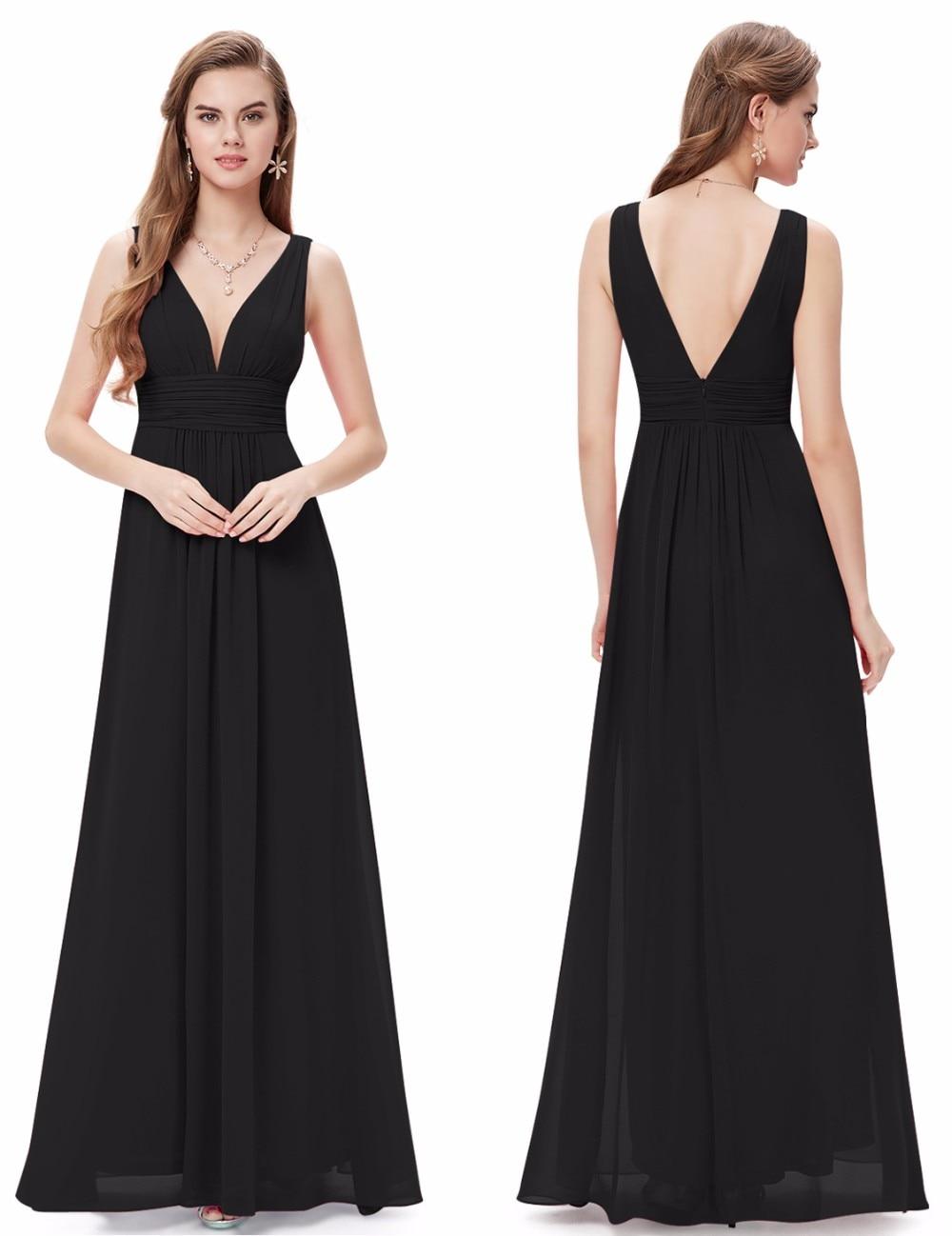 Formal Long Women Elegant Navy Blue V Neck Sleeveless Empire 2020 New Cheap V Back Party Gown Bridesmaid Dresses