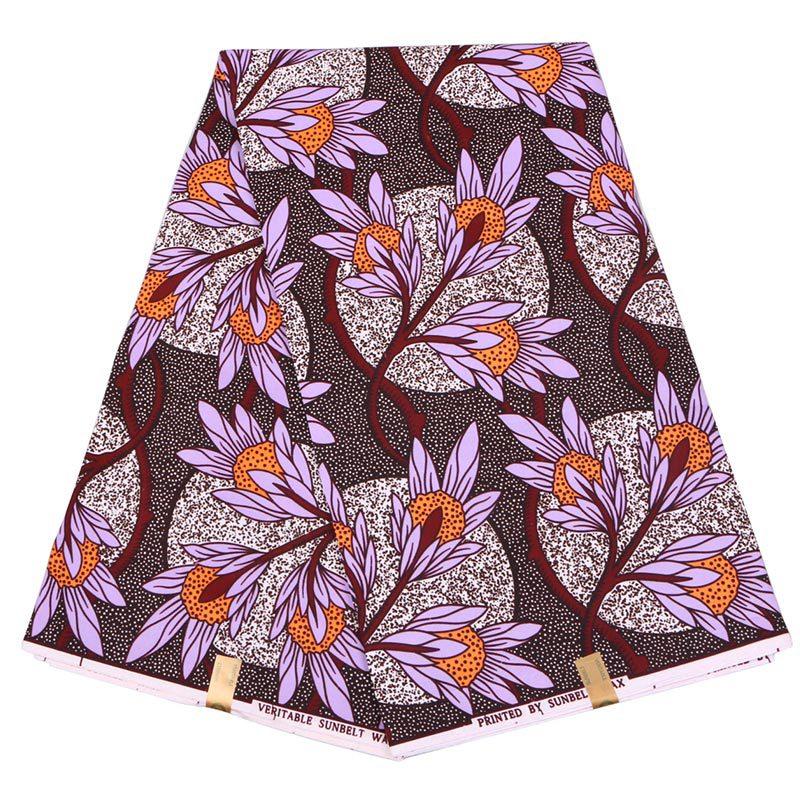 2019 Latest Dutch Wax Fabric New Arrivals African Veritable Guaranteed Sunbelt Wax Printed Lavender Color Daisy Print Fabric
