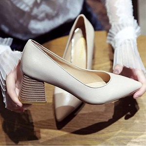 SLHJC Leather Pumps Women Med Square Heels Pointed Toe Slip On OL Lady Heels 5 cm V Mouth Sexy Stylish Work Office Shoes Spring
