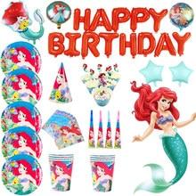 Figura dos desenhos animados sereia ariel festa decoração disney princesa descartáveis tablewares conjunto bebê recém-nascido primeiro aniversário fonte da festa
