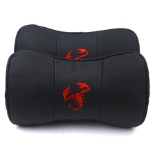 Gzhengtong cojín para el cuello con reposacabezas, cuero auténtico, Abartth rojo, 2 unidades/juego para Fiat Abarth 500