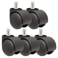 50mm Office Chair Roller Castor Wheels   Set of 5   Black|Casters| |  -