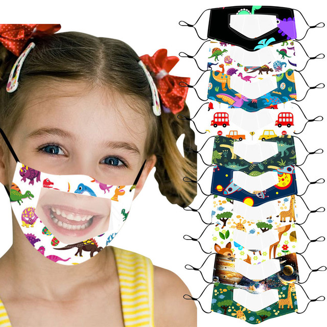 10PC Children Outdoor Mask With Clear Window Visible Expression For Deaf Mute For Protection For Adults Scarf Flag Bandana#3 2