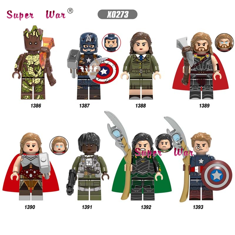 Single Avengers Endgame Odin Captain America Peggy Carter Thor Loki Jane Foster Monica Rambeau IronMan Building Blocks Kids Toys