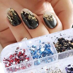 Image 4 - Paleta de lentejuelas para uñas, 12 rejillas, escamas irregulares de aluminio, pigmento de oro, decoración de uñas, láminas de brillo, CH950 1 de papel