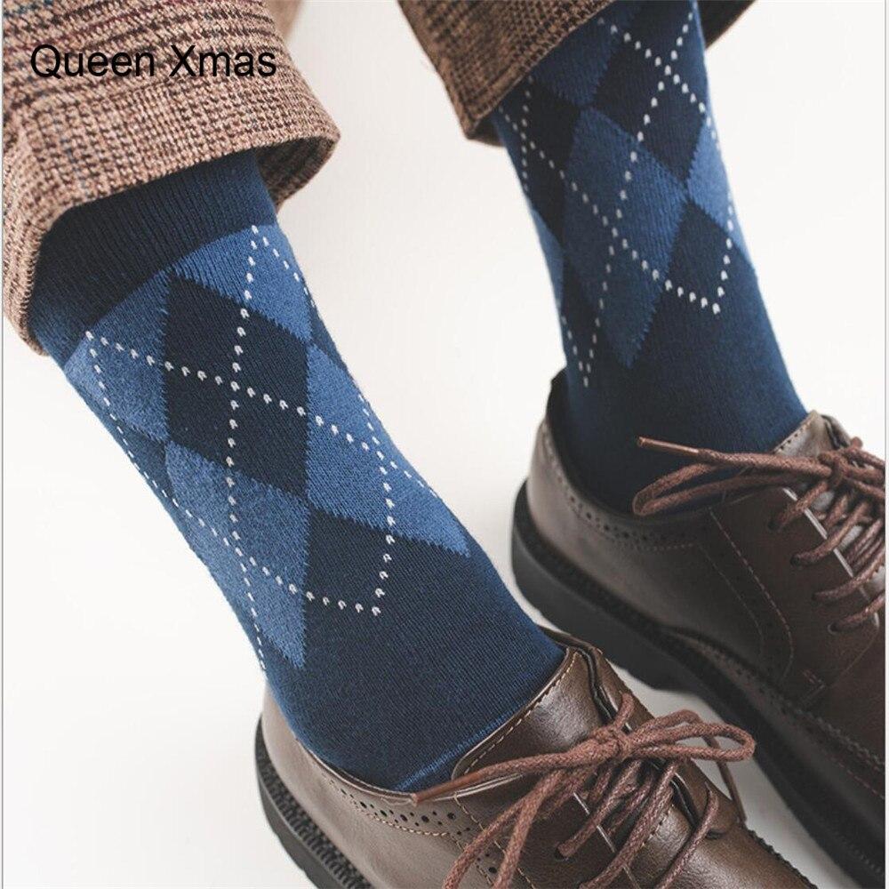 Men's Patterned Dress Socks  Men's Socks British Styleboneless Style Socks in Tube Socks Cotton Socks Gifts