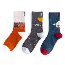 Unisex Painting Style Astronaut Women Socks 100 Cotton Harajuku Colorful Full Space Streetwear 1 Pair Size 35-43