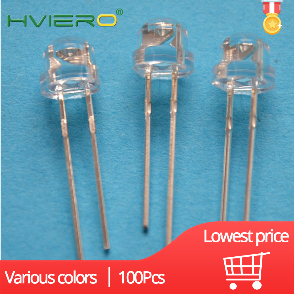 100X 5mm emitting Diode Straw Hat White Red Green Blue Yellow Pink Smd Smt Led Water Clear Bright Wide Angle Bulb 20000mcd Lamp