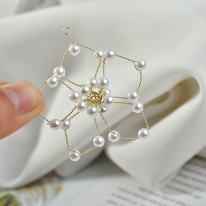 Free Shipping Fashion Pearl Hollow Out Star Pendants DIY Jewelry Findings Ornament Accessories Kawaii Earring Pendants 10pcs