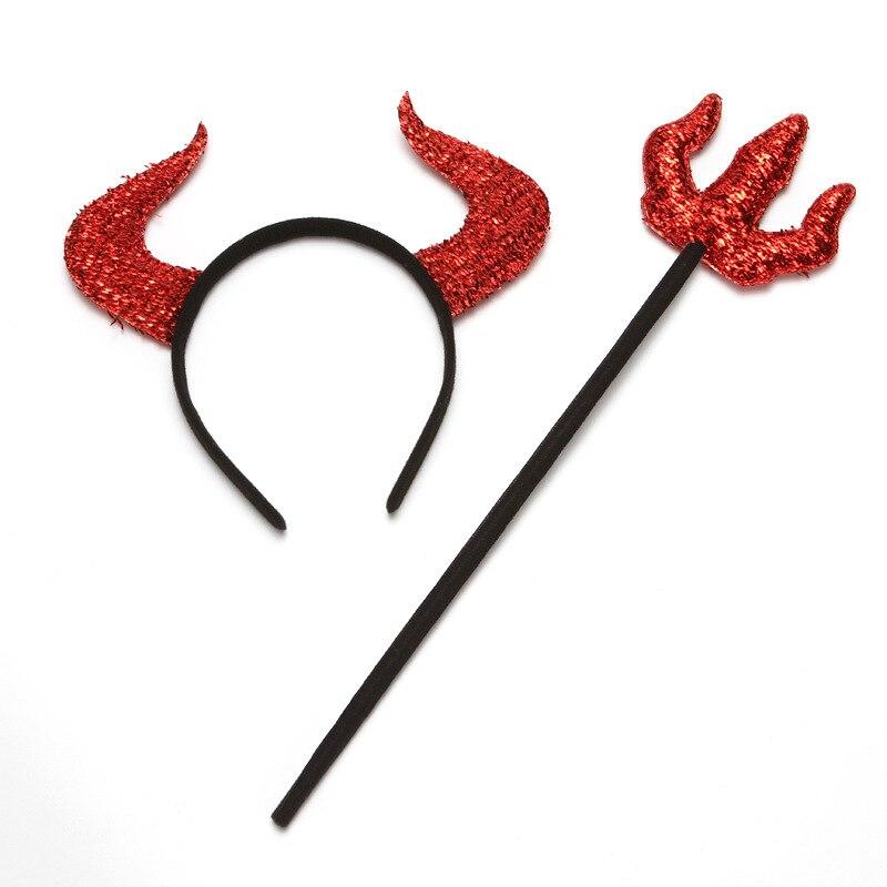 Kids Party Cosplay Headband Maleficent Horns Scepter Set Girl Hair Accessories Headwear Devil Horn Gothic Halloween Costume Prop