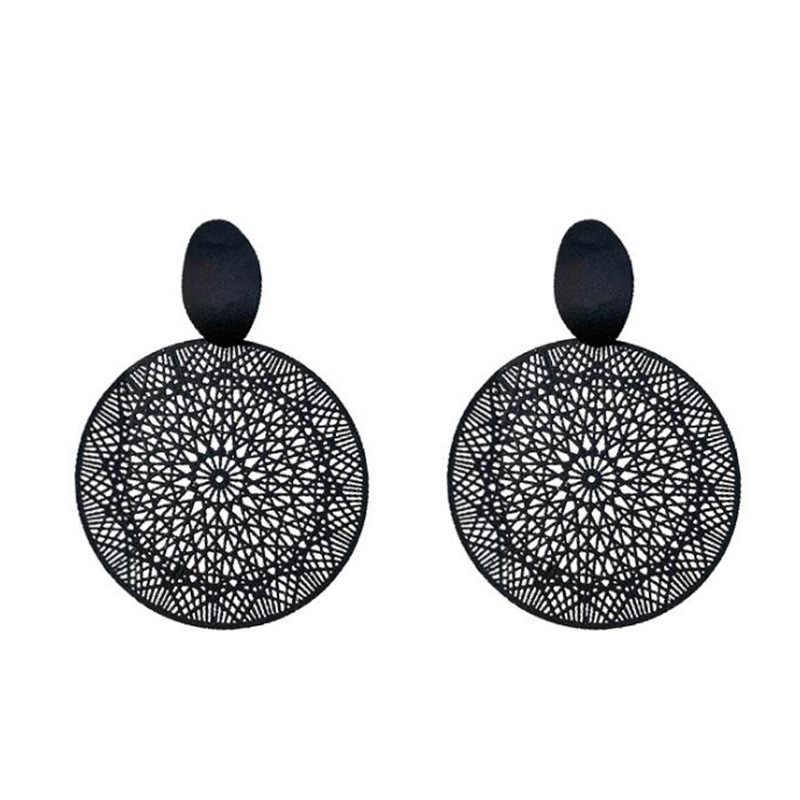 ขายส่งของบุคลิกภาพใหม่สีดำแหวนอารมณ์ Hollow-OUT รูปแบบจี้ต่างหู 2019 ต่างหูผู้หญิง