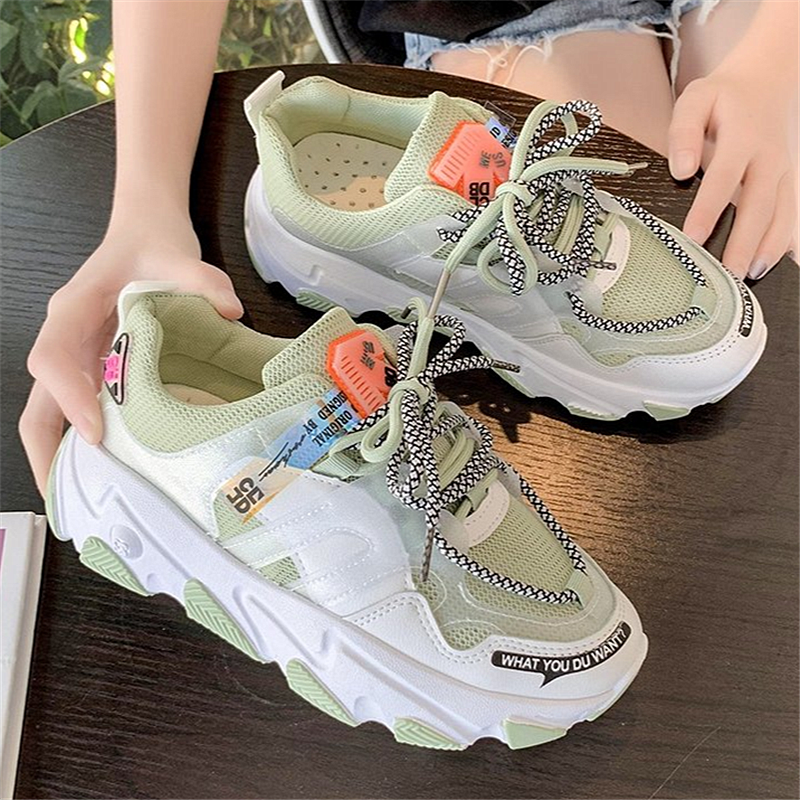 2020 Women Shoes New Chunky Sneakers For Women Lace-Up Vulcanize Shoes Casual Fashion Dad Shoes Platform Sneakers Shoes Woman