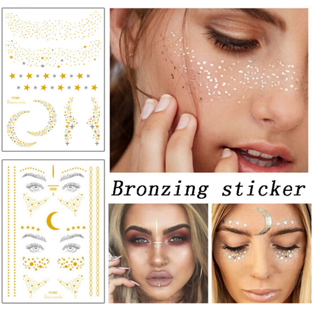 1PC Gold Silver Face Tattoo Waterproof Bronzing Freckles Make Up Body Art Flash Tattoo Sticker Eye Decals Bride Tribe Party
