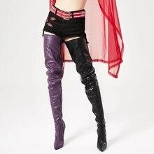 Botas altas hasta el muslo de charol impermeables para mujer, por encima de la rodilla, tacón de aguja, puntiagudas con cremallera lateral, zapatos femeninos de talla grande 43