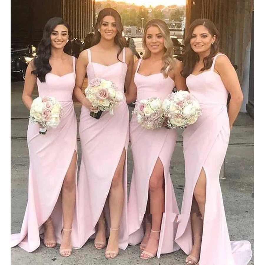 Mermaid Bridesmaid Dresses Long 2020 Satin Side Slit Vestido De Festa Spaghetti Straps Robe Demoiselle D'Honneur