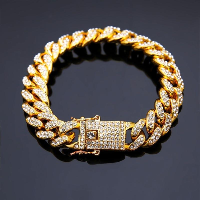 Popular Hip Hop Jewelry Cuban Bracelet Closely Drilled Cuban Chain Hiphop Jewelry Cross Border E Commerce Source Chain Link Bracelets Aliexpress