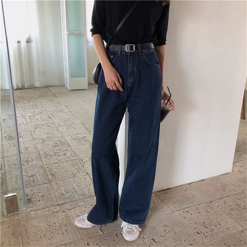 Alien Kitty Slender Straight All Match New Slim Fresh 2019 Light Washed Fashion Casual Streetwear Large Size Wide Leg Trousers