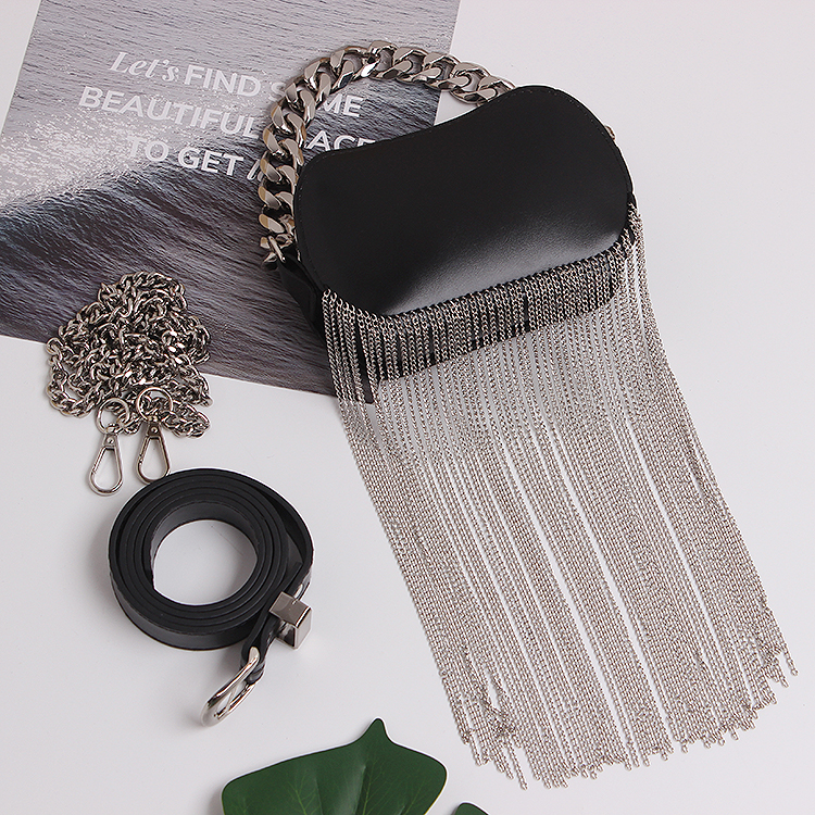 Luxury Long Metal Chain Tassel Women Fanny Packs Oval Waist Bags Black PU Leather Waist Belt Phone Packs Crossbody Shoulder Bag
