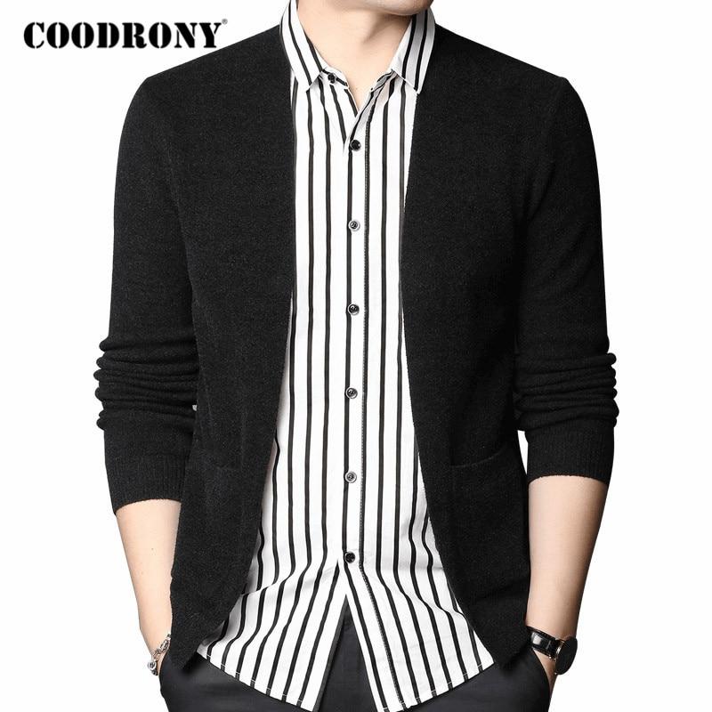 COODRONY Brand Cardigan Men Streetwear Fashion Shirt Collar Warm Coat Cardigans 2020 Autumn Winter New Arrival Sweater Men C1107