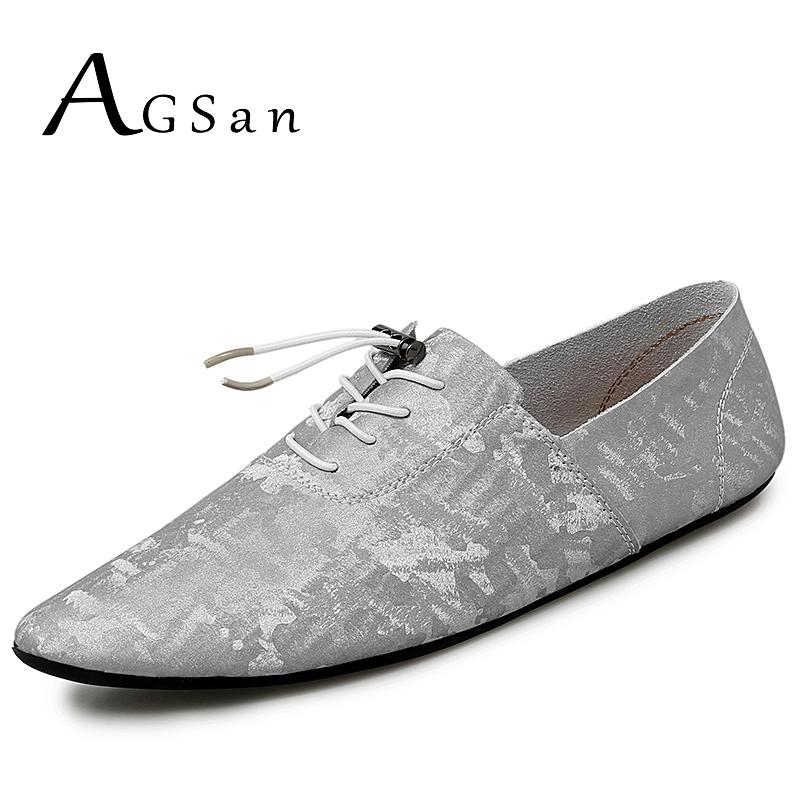 AGSan Genuine Leather Casual Shoes Men Silver Driving Mocassins Comfortable Flats Pointed Toe Leather Shoes Leisure Footwear Men