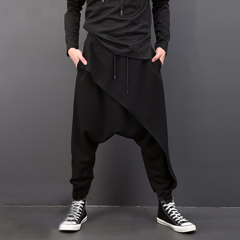 Zogaa 2019 Men Pants Wide Legs Casual Loose Cotton Big Drop Crotch Hip Hop Harem Low grade Collapse Baggy Pants Trousers Male in Harem Pants from Men 39 s Clothing