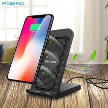 Fdgao carregador sem fio qi 10w, carregador wireless para iphone x, 8, xs, 11, xr, samsung s10, s9, s8 plus, note 8 9 10 5g com ventilador de refrigeração, suporte de carregamento rápido