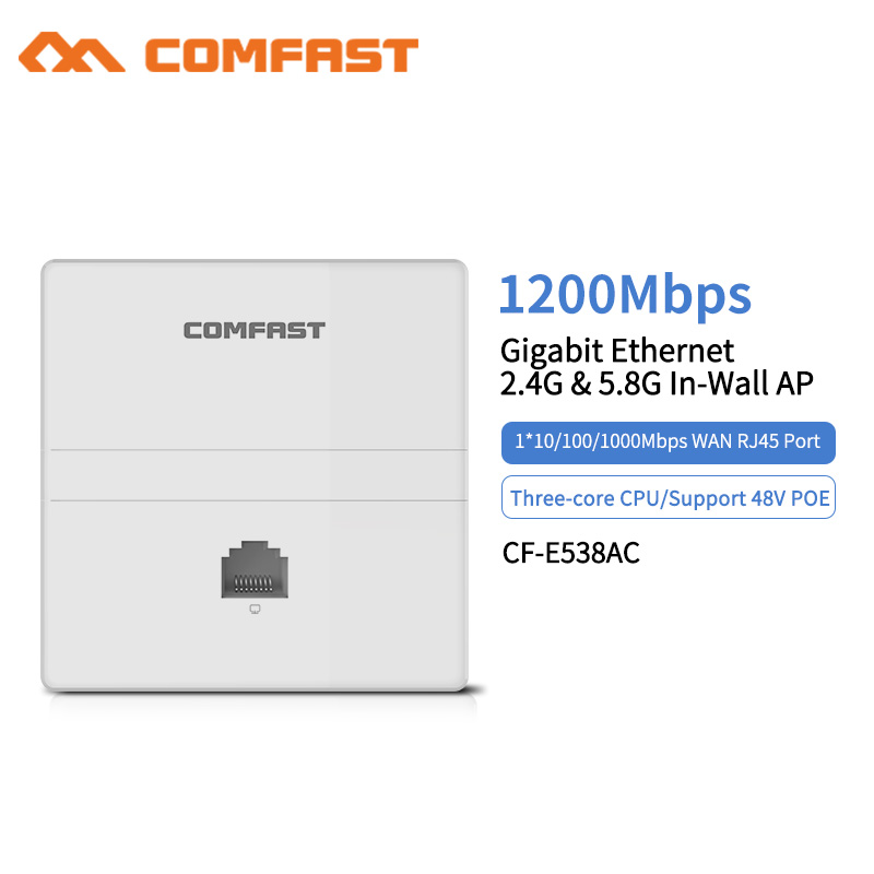 1200Mbps Wireless Dual Band In wall AP 2 4  5 8 Ghz Gigabit Ethernet Access Point 802 11 AC Hotel Home RJ45 Lan Router Repeater