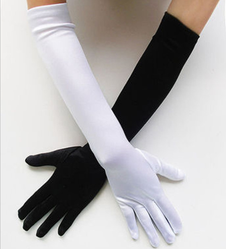2019 New Fashion Long Gloves Satin Opera Evening Party Prom Costume Glove Black White