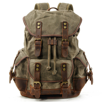 Vintage Unisex large capacity Canvas Leather Travel laptop waterproof Outdoor hiking backpack HY 10239